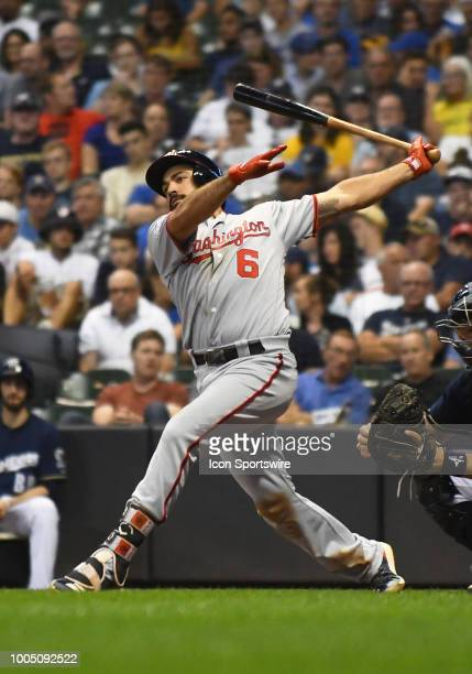 Washington Nationals Third base Anthony Rendon makes contact during a MLB game between the Milwaukee Brewers and Washington Nationals on July 23 2018...