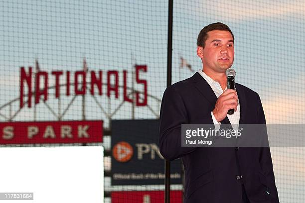 Washington Nationals Third Baseman and ziMS Foundation President Ryan Zimmerman makes a few remarks at Ryan Zimmerman's 2nd Annual A Night At The...