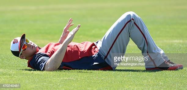 Washington Nationals third baseman Ryan Zimmerman stretches during spring training workouts on February 18 2014 in Viera Fl