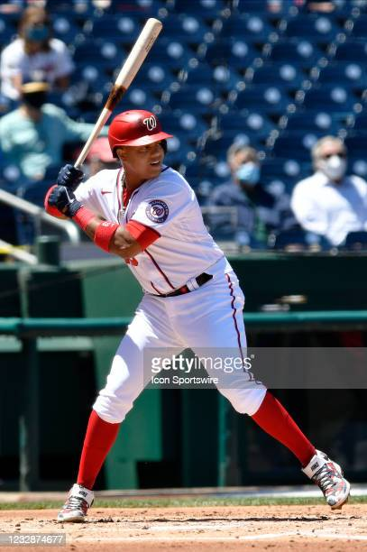 Washington Nationals third baseman Starlin Castro waits for a pitch during the Philadelphia Phillies versus Washington Nationals MLB game at...