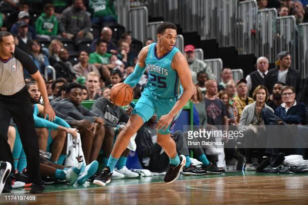 J Washington of the Charlotte Hornets dribbles up court against the Boston Celtics on October 6 2019 at the TD Garden in Boston Massachusetts NOTE TO...