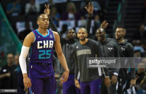 Washington of the Charlotte Hornets reacts after a basket against the Chicago Bulls during their game at Spectrum Center on October 23 2019 in...