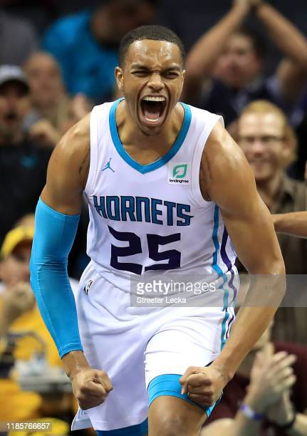 Washington of the Charlotte Hornets reacts after a play against the Indiana Pacers during their game at Spectrum Center on November 05 2019 in...