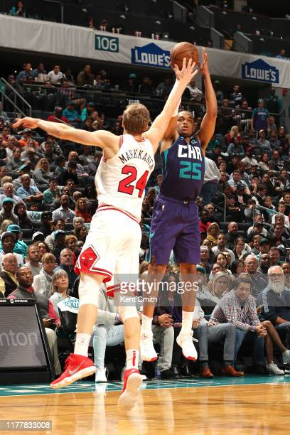 Washington of the Charlotte Hornets shoots a three pointer against the Chicago Bulls on October 23 2019 at Spectrum Center in Charlotte North...