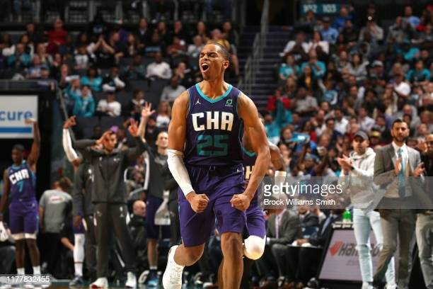 Washington of the Charlotte Hornets shows emotion during the game against the Chicago Bulls on October 23 2019 at Spectrum Center in Charlotte North...