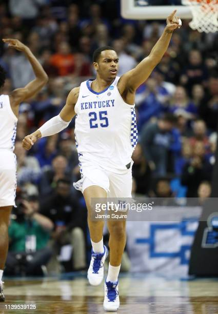 Washington of the Kentucky Wildcats celebrates against the Auburn Tigers during the 2019 NCAA Basketball Tournament Midwest Regional at Sprint Center...
