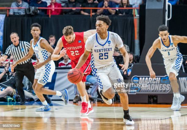 Washington of the Kentucky Wildcats fast breaks with the ball during the NCAA Division I Men's Championship First Round game between the Kentucky...