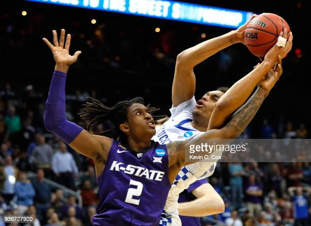 Washington of the Kentucky Wildcats handles the ball against Cartier Diarra of the Kansas State Wildcats in the first half during the 2018 NCAA Men's...