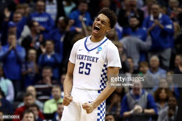 Washington of the Kentucky Wildcats reacts after a play in the second half against the Kansas State Wildcats during the 2018 NCAA Men's Basketball...