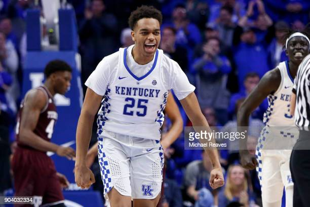 Washington of the Kentucky Wildcats reacts against the Texas AM Aggies at Rupp Arena on January 9 2018 in Lexington Kentucky