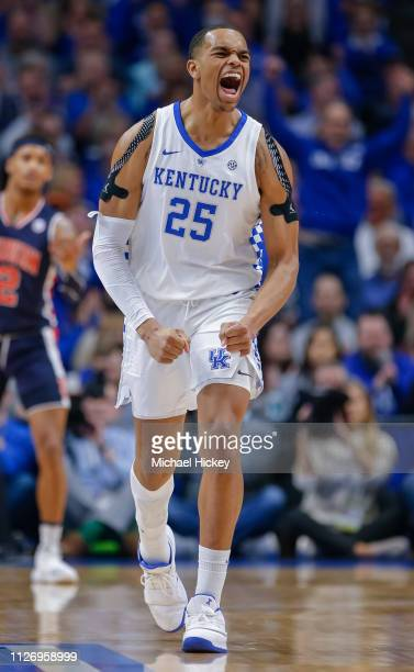 Washington of the Kentucky Wildcats reacts during the game against the Auburn Tigers at Rupp Arena on February 23 2019 in Lexington Kentucky