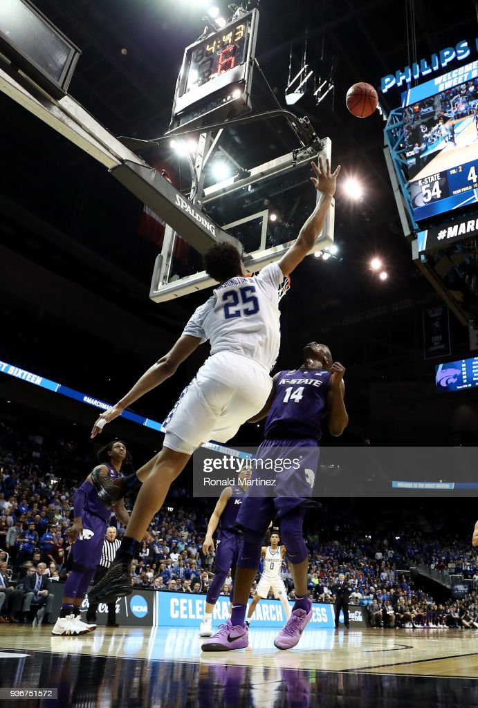 PJ Washington #25 of the Kentucky Wildcats shoots over the backboard in teh second half against Makol Mawien #14 of the Kansas State Wildcats during the 2018 NCAA Men's Basketball Tournament South Regional at Philips Arena on March 22, 2018 in Atlanta, Georgia.