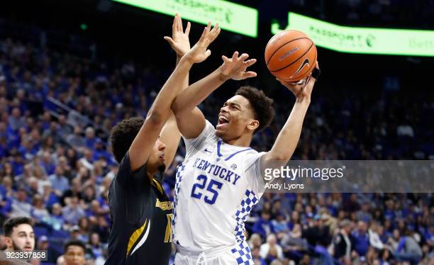 Washington of the Kentucky Wildcats shoots the ball against the Missouri Tigers at Rupp Arena on February 24 2018 in Lexington Kentucky