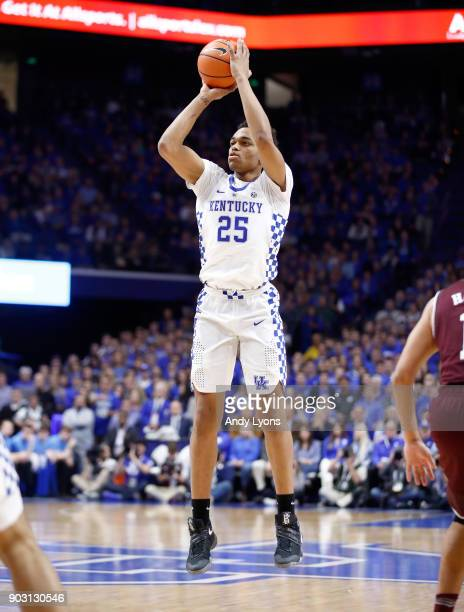 Washington of the Kentucky Wildcats shoots the ball against the Texas AM Aggies during the game at Rupp Arena on January 9 2018 in Lexington Kentucky