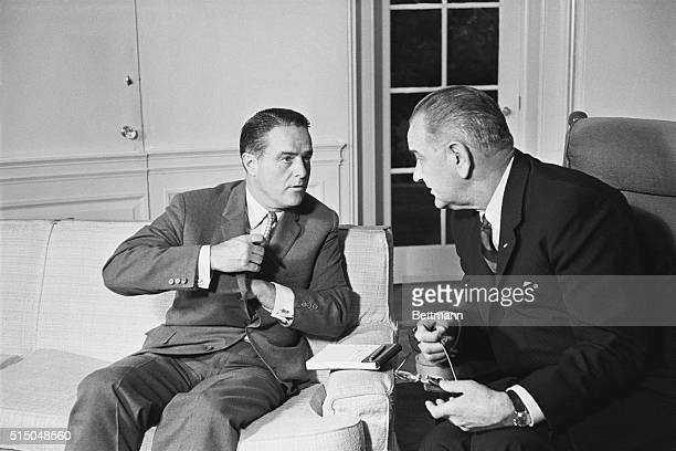 Peace Corps Director Sargent Shriver shown as he met with President Johnson at the White House today said afterwards he plans to leave April 23 1964...