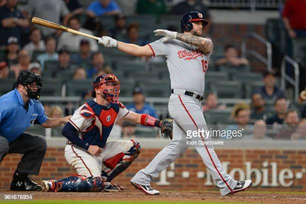 Washington pinch hitter Matt Adams hits a deep fly ball to right field during the game between Atlanta and Washington on May 31st 2018 at SunTrust...