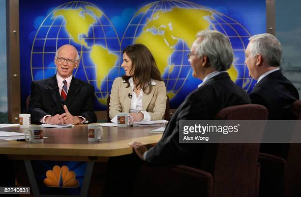 "Washington Post columnist David Broder speaks as anchor of CNBC's ""Street Signs"" Erin Burnett, Washington Post columnist E.J. Dionne, and Wall Street..."