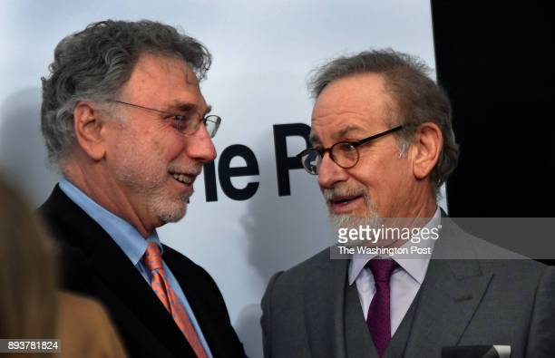 Washington Post editor Marty Baron chats with Steven Spielberg the director of the film 'The Post' at the world premiere of the movie The world...