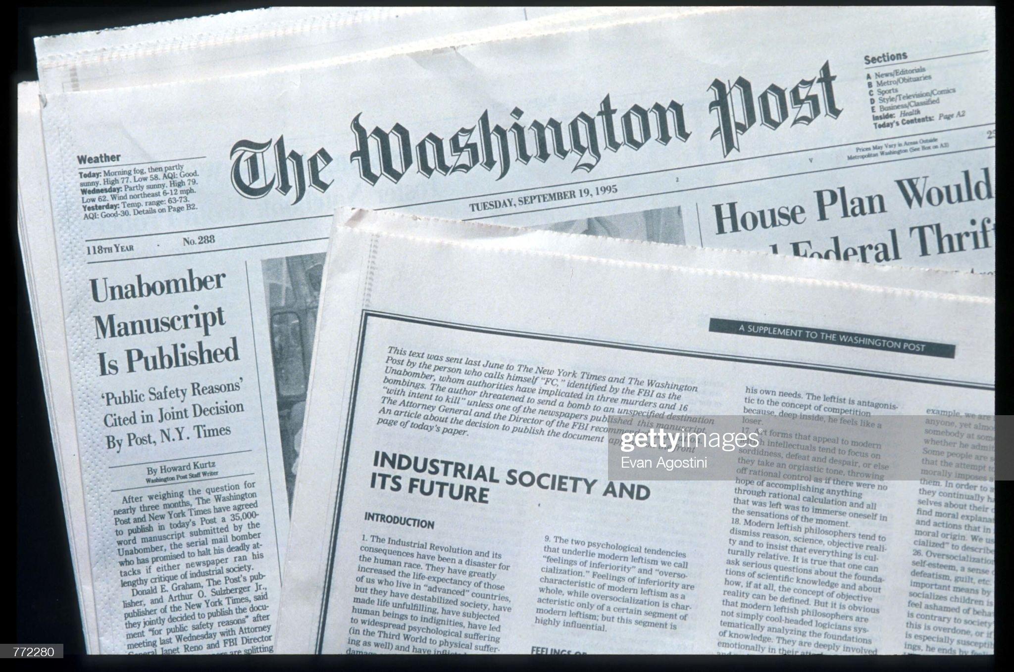 Unabomber Text Published In The Washington Post : Fotografía de noticias