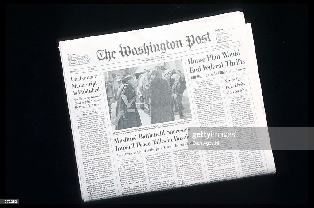 A Washington Post newspaper contains the Unabomber's manifesto September 19, 1995 in USA. At the request of Attorney General Janet Reno and the F.B.I., The Post published the unedited 35,000-word manifesto of the Unabomber, Theodore J. Kaczynski, in the hope of ending his seventeen year letter bomb campaign.