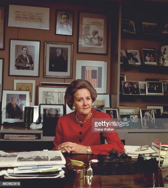 Washington Post owner Katharine Graham is photographed for Time Life in 1993 at her Washington Post desk in Washington DC