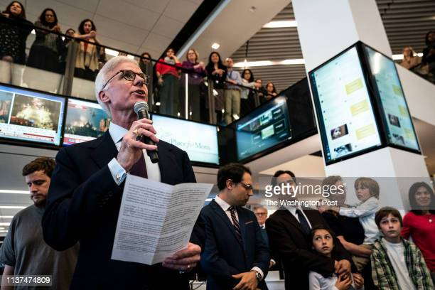 Washington Post publisher Fred Ryan speaks during a 2019 Pulitzer Prize announcement ceremony in the newsroom at the Washington Post office on...