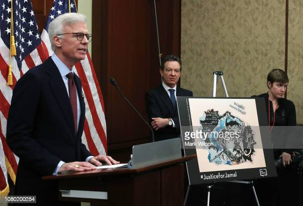 Washington Post publisher Fred Ryan speaks during a press freedom event to mark 100 days since the death of Saudi journalist and Washington Post...