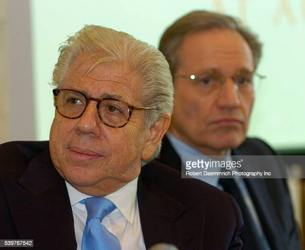 Washington Post reporters Carl Bernstein and Bob Woodward answer questions from the media on February 3 at the University of Texas at Austin Texas...