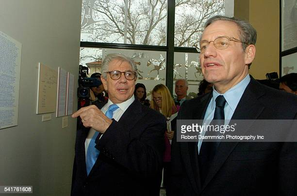 Washington Post reporters Carl Bernstein left and Bob Woodward right look at their Watergate papers on February 3 at the University of Texas at...