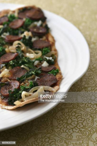 March 6 2008 PHOTO Julia Ewan/TWP CAPTION Sausage and Caramelized Onion Flatbread with Kale and Parmesan