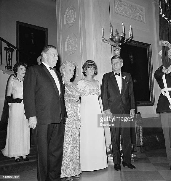 Pres Kennedy honored Prime Minister and Mrs Sean Lemass of Ireland at a state dinner in the White House Lemass is here on a twoday visit Shown as...