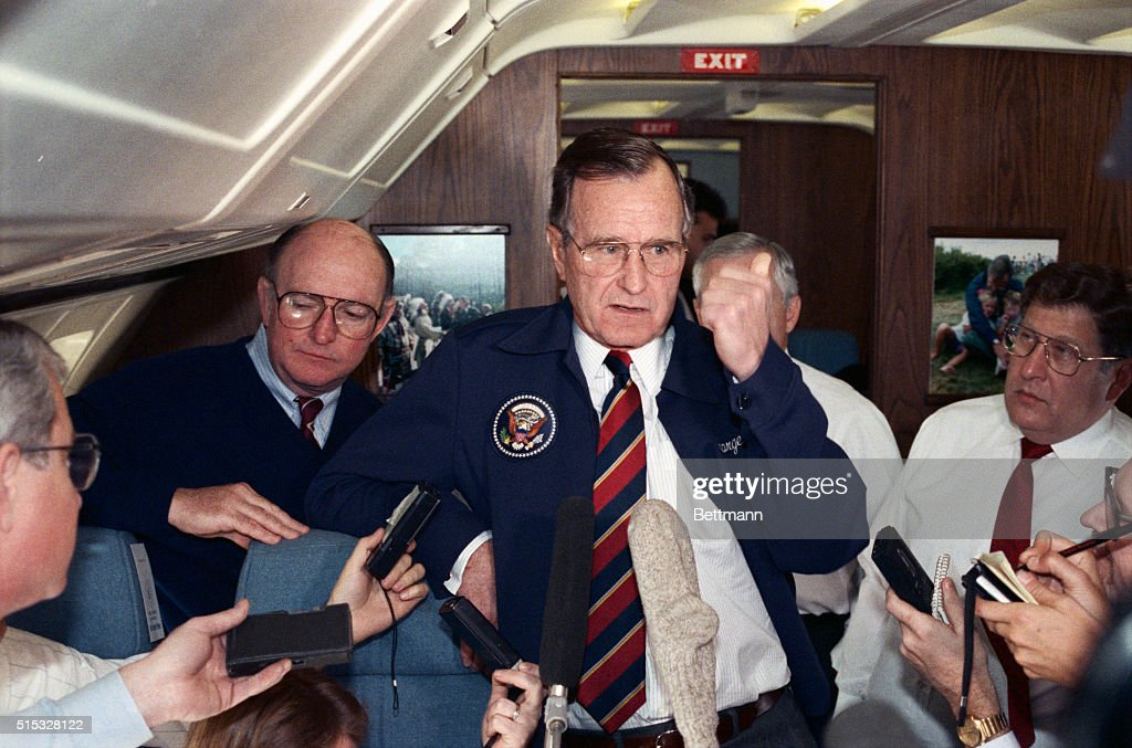 President Bush speaks to reporters aboard Air Force One en route to stop in Memphis. President Bush discussed his decision to send a special military unit to El Salvador to ensure the safety of a group of Green Berets trapped in a hotel besieged by rebel forces.