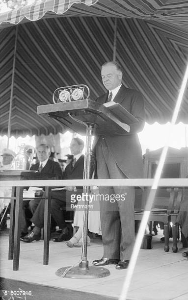 President Hoover addresses the graduation class of Howard University at their Sixty Third Commencement exercises Photo shows President Hoover speaking