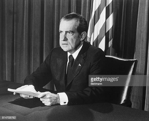 President Nixon announces his resignation 8/8 Official photo release by the White House 8/8/1974