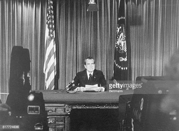 President Nixon goes before the television cameras to tell Americans of his resignation from the Presidency 8/8 Official photo released by the White...