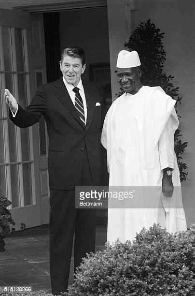 President Reagan greets Guinea President Sekou Toure at the White House prior to a meeting in the Oval Office