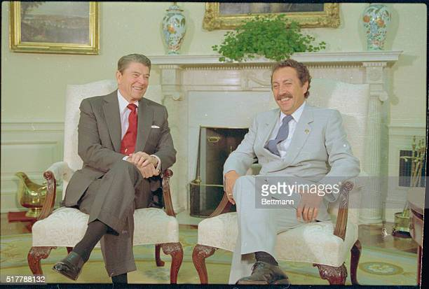 President Reagan meets with Guatemalan President Vinicio Cerezo in the Oval Office Cerezo has expressed his preference for a diplomatic rather than a...