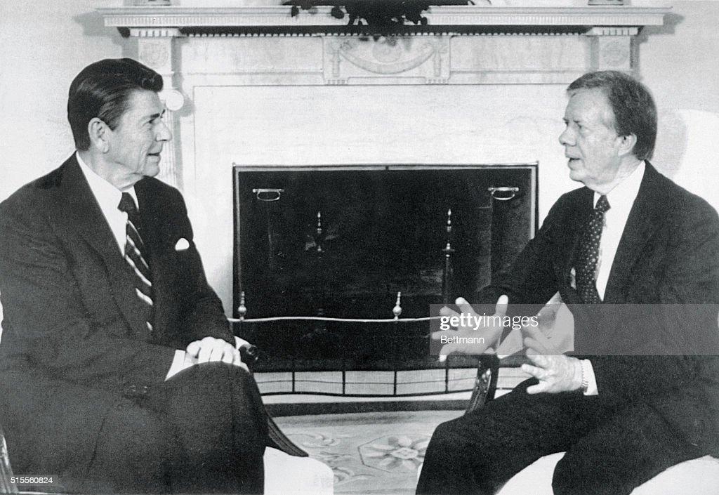 jimmy carter oval office. President Reagan Meets With Jimmy Carter In The Oval Office Of White HOuse. V