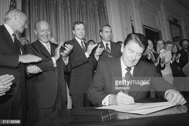 "Washington: President Reagan signed an extension of the 1965 Voting Rights Act, saying ""the right to vote is the crown jewel of American liberties.""..."