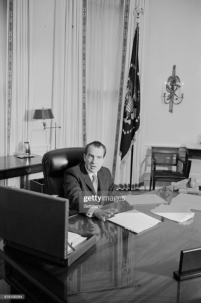 nixon office. President Richard M. Nixon Sits At His Desk In White House Office January 21st