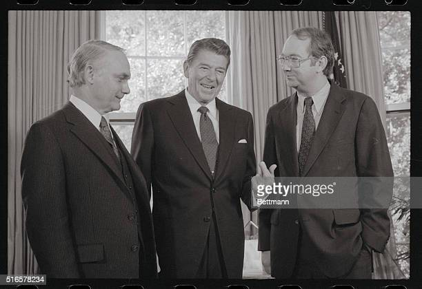 President Ronald Reagan meets Representatives Delbert Latta ROhio and Phil Gramm DTexas at the White House May 7th Gramm and Latta formulated a...