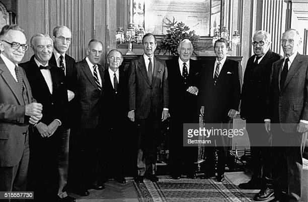 Presidentelect Ronald Reagan and Vice Presidentelect George Bush met with members of the United States Supreme Court at the court Shown Associate...