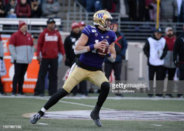 Washington quarterback Jacob Eason sets up to pass during a PAC12 football game between Washington State University and the University of Washington...