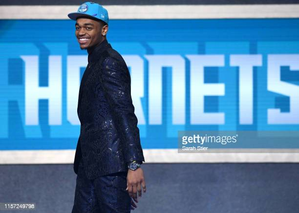 Washington reacts after being drafted with the 12th overall pick by the Charlotte Hornets during the 2019 NBA Draft at the Barclays Center on June 20...