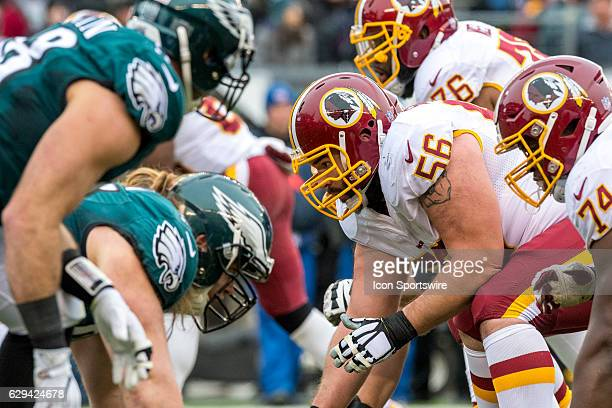 Washington Redskins center John Sullivan ready for the onslaught of the Eagles front line during the game between the Washington Redskins and the...