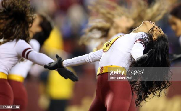 Washington Redskins cheerleader performs after the first quarter during a NFL game between the Washington Redskins and the New York Giants on...