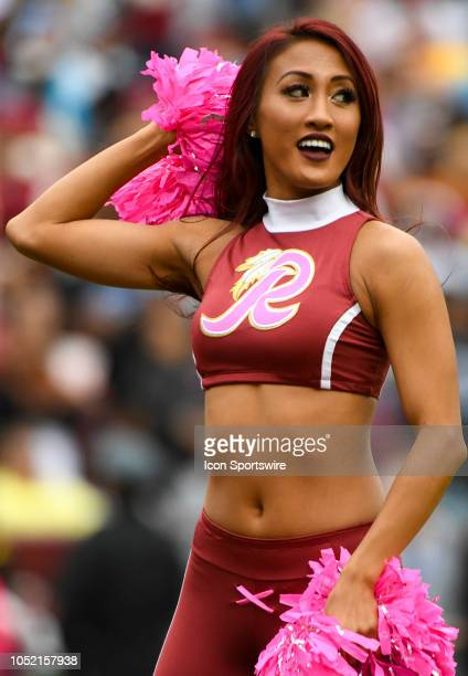Washington Redskins cheerleader performs on October 14 at FedEx Field in Landover MD The Washington Redskins defeated the Carolina Panthers 2317