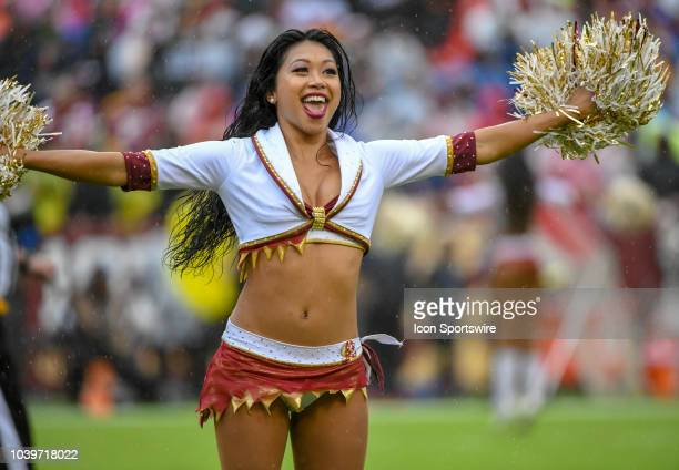 Washington Redskins cheerleader performs on September 23 at FedEx Field in Landover MD The Washington Redskins defeated the Green Bay Packers 3117