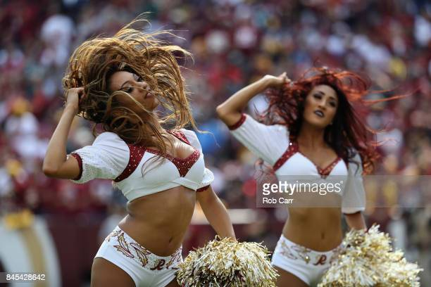 Washington Redskins cheerleaders perform against the Philadelphia Eagles at FedExField on September 10 2017 in Landover Maryland