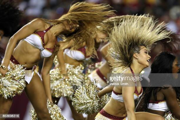 Washington Redskins cheerleaders perform at FedExField on September 24 2017 in Landover Maryland